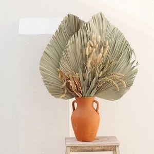 Dried palm leaf fans center piece floral decor